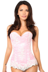 Elegant Light Pink Embroidered Steel Boned Corset