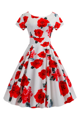 Atomic White Vintage Rose Swing Dress