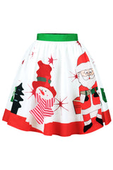 White Santa Claus Skater Skirt