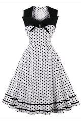 Black and White Sleeveless Dotted Dress