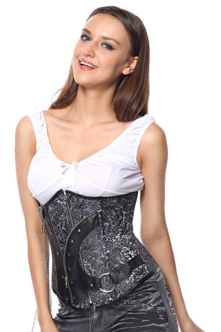 Atomic Black and Silver Steampunk Underbust Corset