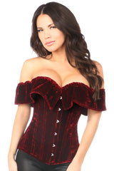 Velvet Off-The-Shoulder Steel Boned Corset
