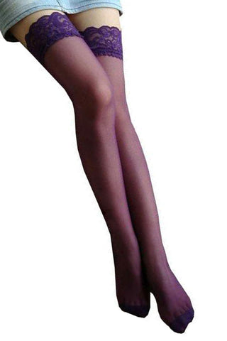 Purple Sheer Thigh High Stockings