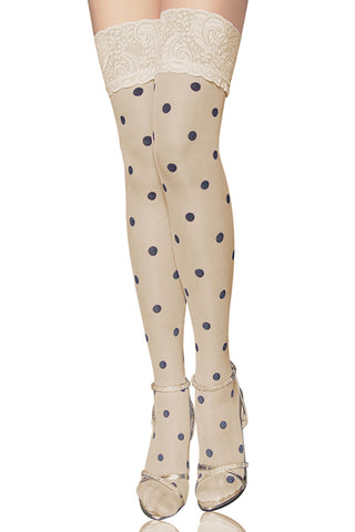 Nude Polka Dot Thigh High Stockings