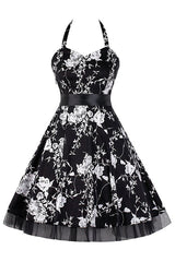 Black and White Floral Halter Dress