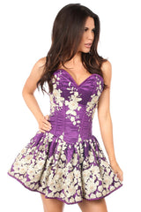 Plum Floral Steel Boned Short Corset Dress
