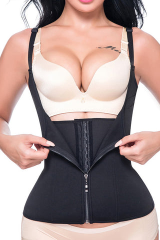 Atomic Black Underbust Waist Trainer with Hook and Zipper