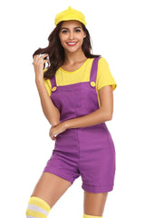 Yellow And Purple Plumber Overalls Costume