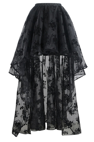 Black Elastic High-Low Organza Skirt