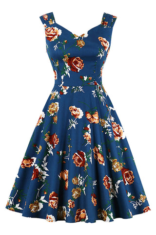 Vintage Floral Sweetheart Swing Dress