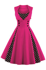 Hot Pink and Black Polka Dot Pleated Swing Dress