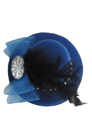 Blue Jeweled Feather Mini Top Hat