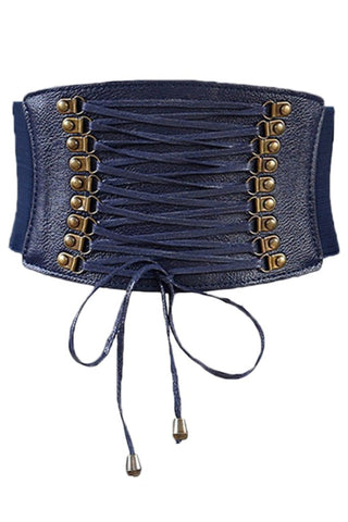Blue Leather Lace Up Cinched Corset Belt