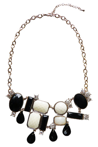 Black And White Gemstone Necklace