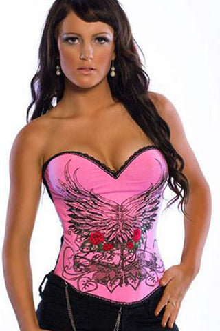 Pink Flower and Wings Overbust Corset