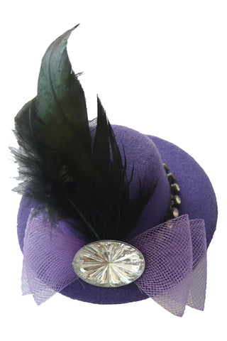 Purple Jeweled Feather Mini Top Hat