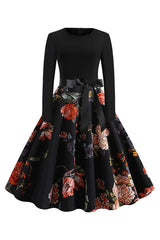 Atomic Black Camellia Belted Midi Dress