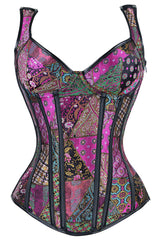 Purple Patchwork Steel Boned Steam Overbust Corset