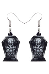 Black Skull Tombstone Dangle Earrings