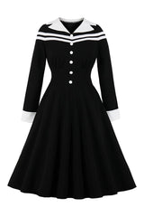Black and White Button Front Dress