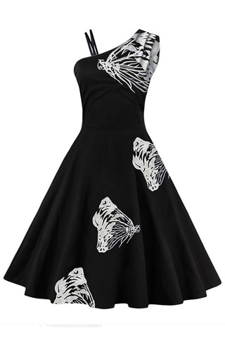 White Embroidered Butterfly Swing Dress