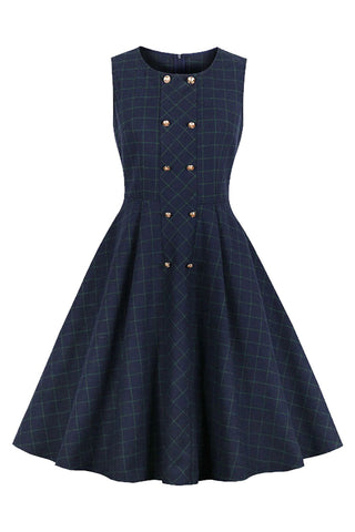 Tartan Double-Breasted Retro Midi Dress