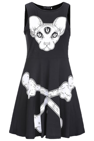 Cat and Crossbones Black Gothic Dress