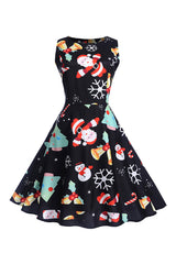 Black Christmas Santa Bells Dress