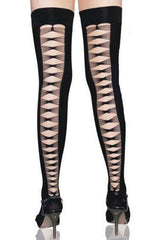 Hollow Crisscross Back Stockings