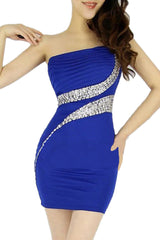 Blue Ruched Rhinestone Bodycon Dress