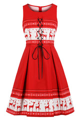Retro Red Christmas Reindeer Dress