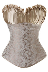 Champagne Victorian Inspired Brocade Overbust Corset