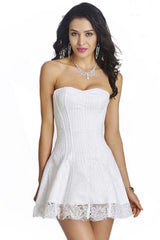 White Strapless Stripe Lace Corset Dress