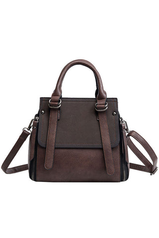 Atomic Strapped Faux Leather Satchel Bag