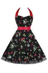 Black Cherry Halter Swing Dress