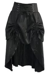 Black Steampunk Satin Skirt