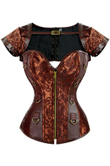 Coffee Steampunk Shrug Overbust Corset