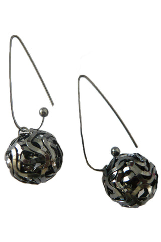 Black Hollow Round Ball Earring