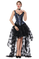Blue Strapped Jacquard Corset and Organza Skirt Set
