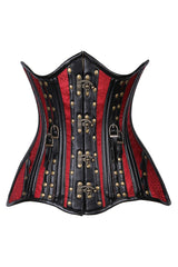 Faux Leather & Brocade Steel Boned Underbust Corset w/ Rivets