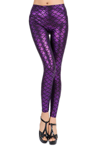 Purple Fish Scale Low Waist Leggings