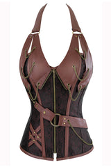Brown Steel Boned Steampunk Halter Corset