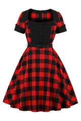 Black and Red Plaid Belted Swing Dress