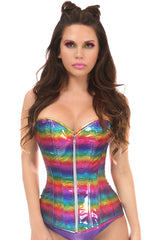 Rainbow Glitter Steel Boned Zipped Corset