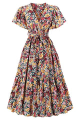 Vintage Floral Belted Long Dress