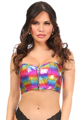 Rainbow Glitter Short Bustier Top
