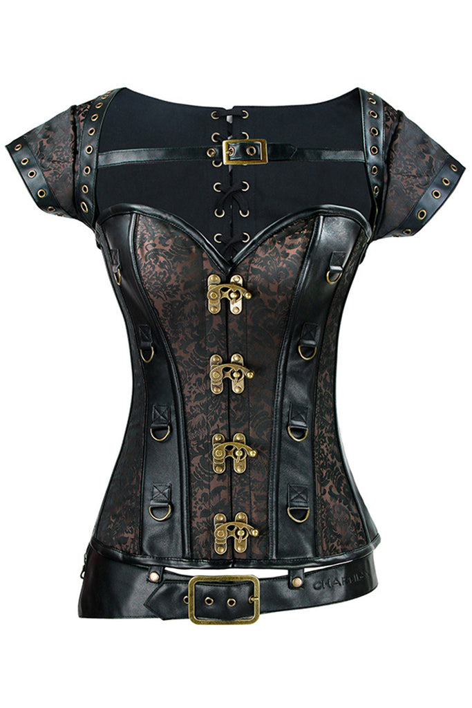 d8c739b7ce Atomic Brocade and Faux Leather Overbust Corset