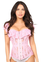 Light Pink Sheer Lace Steel Boned Corset