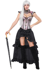 Pink Decorative Overbust Corset and High-Low Skirt Set