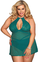 Plus Size Halter Laced Babydoll Lingerie
